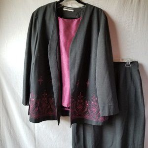 Dana Kay 3 Piece Womens Business Suit Blazer Skirt